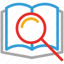 book, magnifier, research, searching icon