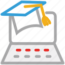 diploma, graduation hat, laptop, online study icon