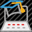 diploma, graduation hat, laptop, online study