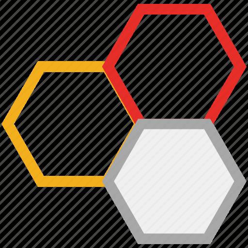 eco power cells, hexagon, hexagons, molecular bond icon