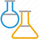 beakers, flask, laboratory equipment, test beakers icon