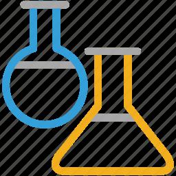 beakers, flask, laboratory equipment, test beakers icon