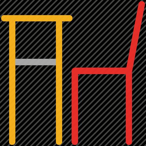 chair, desk, furniture, school icon