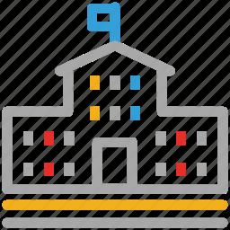 building, high school, real, school icon