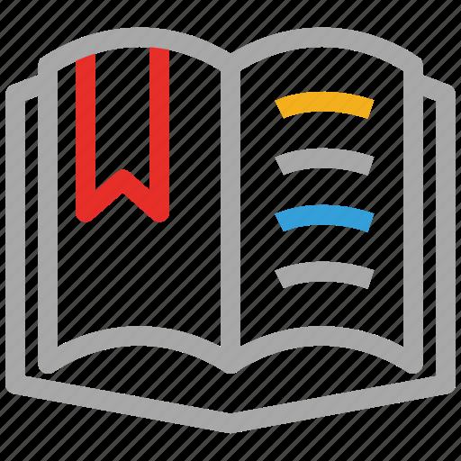 book, book mark, favorite lesson, open book icon