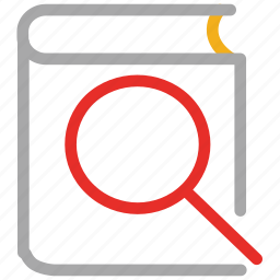 book, book searching, magnifier, research icon