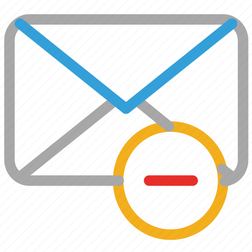 email, envelope, mail, minus sign icon