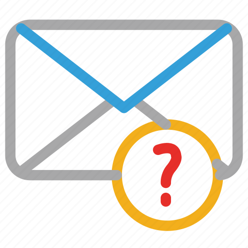email, envelope, mail, question mark icon