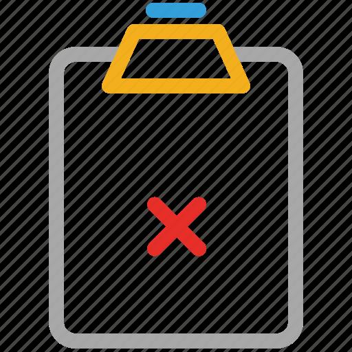 cancel, cancel paper, clipboard, cross sign icon