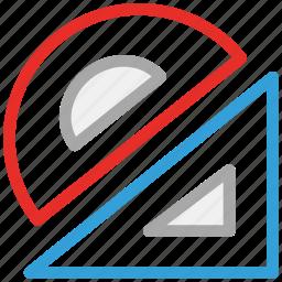 geometry, geometry tools, protractor, scale icon