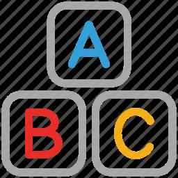 abc, alphabet letters, alphabets, baby abc cubes icon