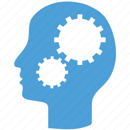 education, gear in head, intelligence, knowledge icon
