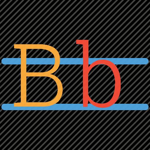 alphabets, capital b, kindergarden, small b icon