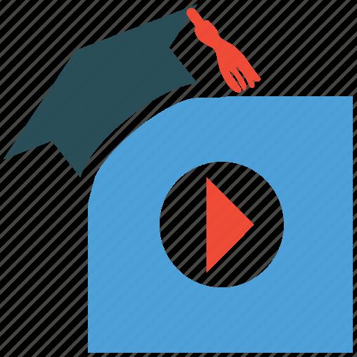 graduation, online graduation, play sign, study icon