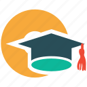 cd, degree, graduation hat icon