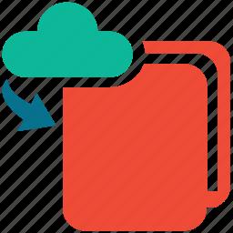 cloud, down arrow, downloading, folder icon