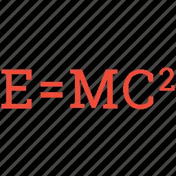 energy and mass, formula, mass energy equivalence, theory of relativity icon