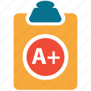 clipboard, examination sheet, position, result icon