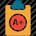 clipboard, examination sheet, position, result icon