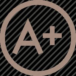 a, a+, education, school icon