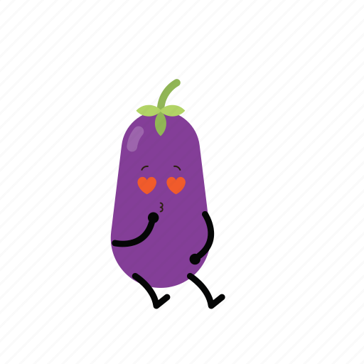 action, character, cute, eggplant, emoticon, toy icon