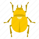 beetle, bug, decoration, egypt, gold, insect, scarab icon
