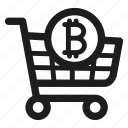 bitcoin, cart, digital currency, ecommerce, payment, shopping