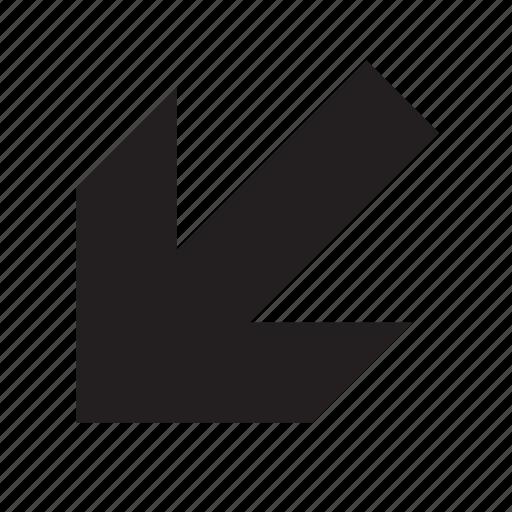 arrow, down-left icon