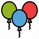 balloon, baloon, birthday, blue, green, party, red, scribble icon