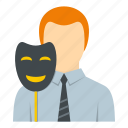 businessman, fake, man, mask, people, person, portrait icon