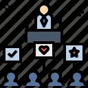 announce, campaign, candidate, communique, policy icon