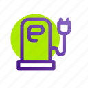 battery, charge, charging, electric, energy, power, station icon