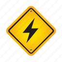 alert, danger, lightning, road, sign, warning icon