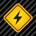 lightning, sign, alert, danger, road, warning
