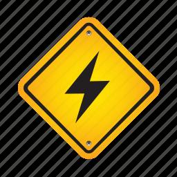 alert, danger, lightning, road, sign, warning icon