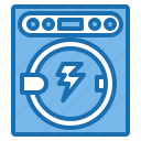 connection, current, electricity, industry, machine, technology, washing icon