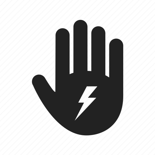 electric, electricity, energy, hand, lightning, power, stop icon