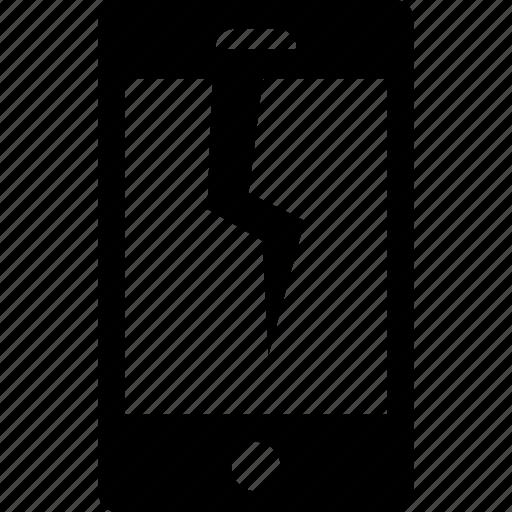 break, broken, glass, phone, smartphone icon