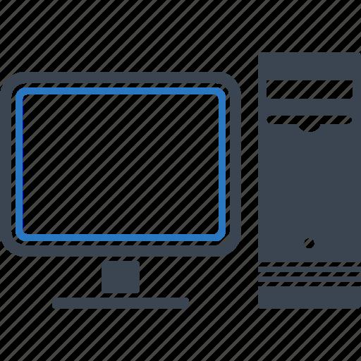 computer, desktop, monitor, tower icon