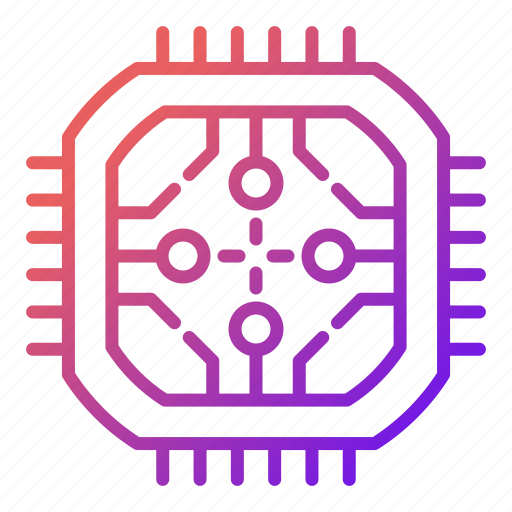 abstract, chip, cpu, design, electronics, technology icon