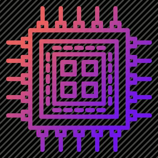 cpu, electronics, microchip, processor, technology icon
