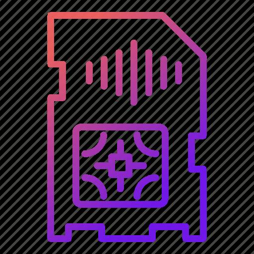 card, device, electronics, phone, puce, signal, sim icon