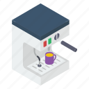 coffee dispenser, coffee maker, electronic machine, kitchen equipment, kitchenware icon