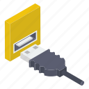 cable flash, charging cable, cord cable, data cable, usb isometric icon