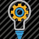 bulb, idea build, idea development, idea generate cog in bulb, idea settings, light settings icon