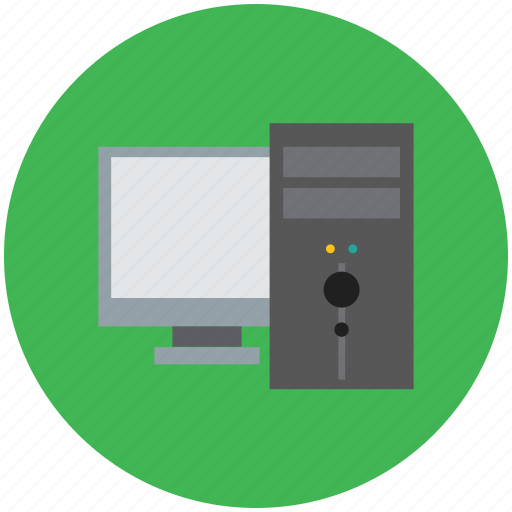 computer, computer system, computer with lcd, monitor, pc, personal computer, tower pc icon