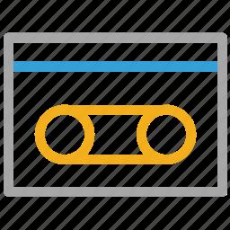 audio, audio cassette, cassette, tape icon