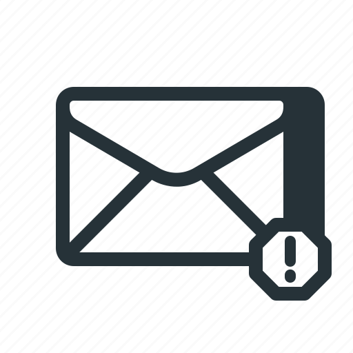 dangerous, email, mail, newsletter, spam, suspicious, warning icon