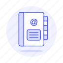 address, at, book, contact, email, list, mail, sing, symbol icon
