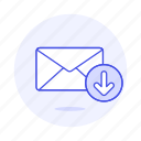 download, email, envelope, inbox, letter, mail, sync